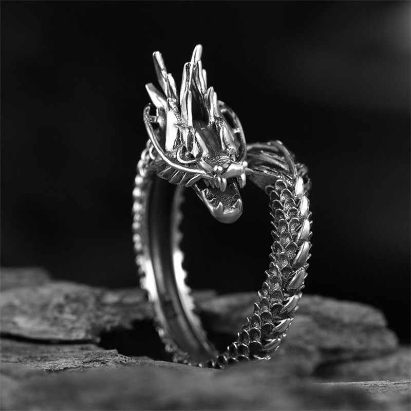 Titanium Stainless Steel Dragon Ring Mens Jewelry Retro Exaggerated Animal Adjustable Ring Gothic Punk Jewelry Open Ring