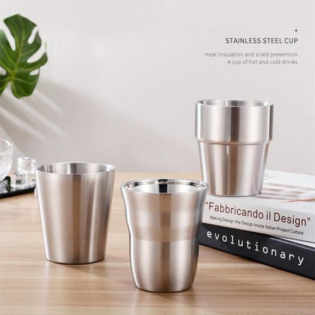 1 Pcs Stainless Steel Cup Metal Beer Wine Pint Glasses Coffee Tea Milk Mugs Home Party Bar Drink Accessories 175/260/300/480ml 1