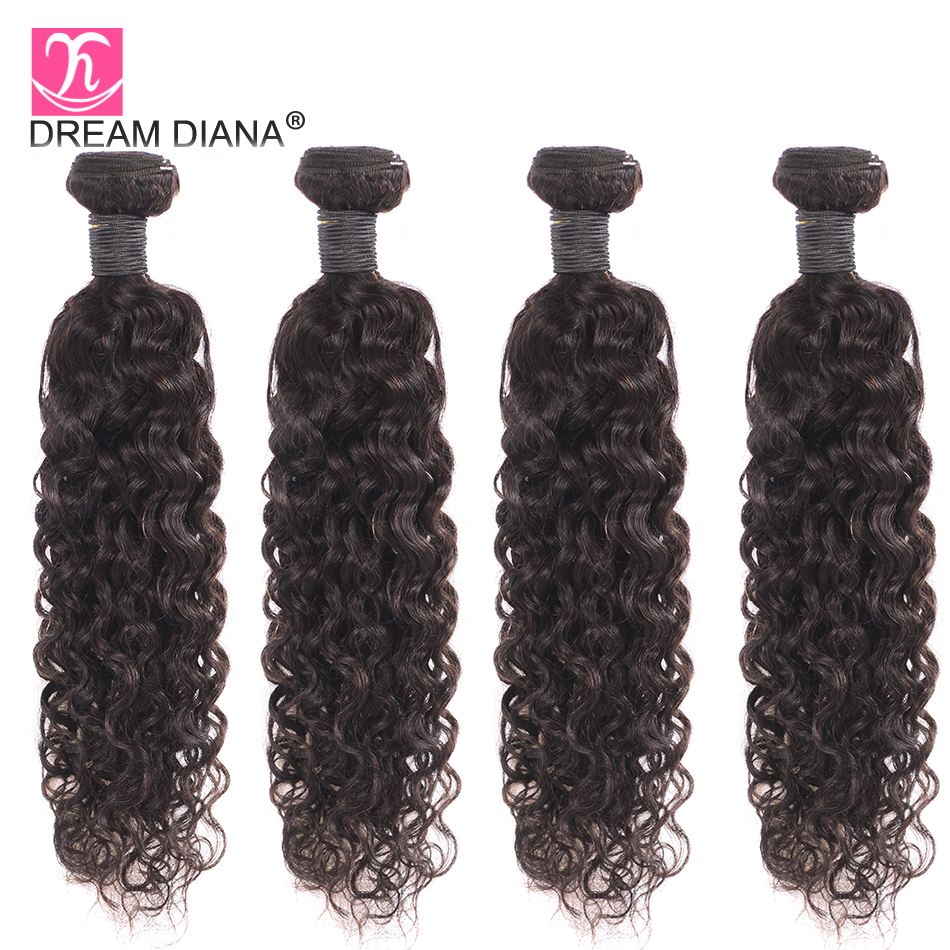 Image 5 - DreamDiana Brazilian Water Wave 1/3 Bundles L Remy Weave Hair Piece Natural Black Color 100% Human Hair Extensions Free ShippingHair Weaves   -