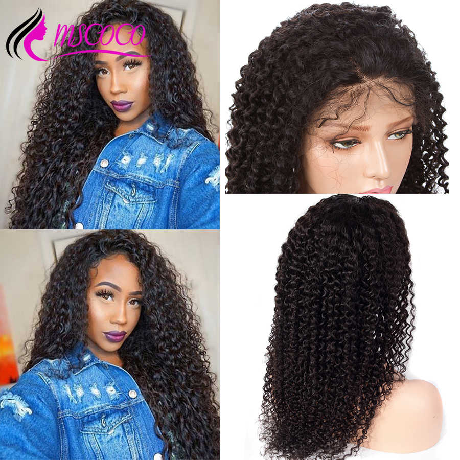 Mscoco Kinky Curly Human Hair Wig 150 180 250 Density Lace Front Human Hair Wigs Pre Plucked With Baby Hair 360 Lace Frontal Wig