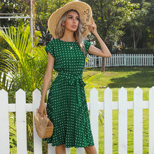 Yg Brand Women's 2021 Summer New Pullover Printed Round Neck Dress Short Sleeve Round Dot Big Belt Mid Long Skirt