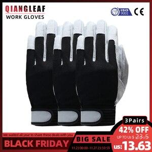 Image 1 - Qiangleaf 3 pçs venda quente d grau luvas de couro luvas de trabalho de segurança resistente ao desgaste luvas de trabalho masculino mitten frete grátis 508