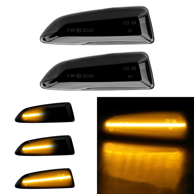 2pcs Flowing Turn Signal Light Dynamic LED Side Marker Lights For Opel Vauxhall Astra J K Crossland X Grandland Insignia B