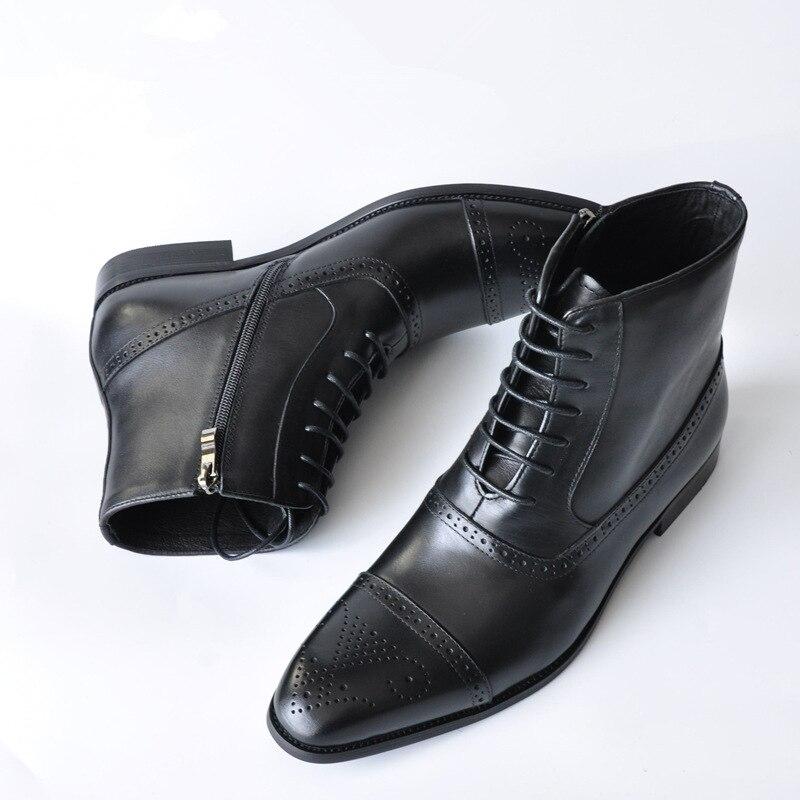 Brogue Men Boots Lace-up Zipper Ankle Male Oxford Boots Spring Autumn Leather Elegant Decent Shoes Plus Size 39-46