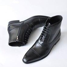 Brogue Men Boots Lace-up Zipper Ankle Male Oxford Boots Spri