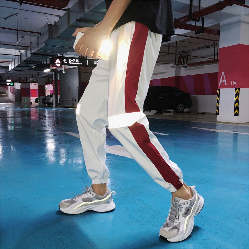 Autumn Thin Versatile Reflective Pants Male STUDENT'S Korean-style Loose-Fit Skinny Casual Pants Hong Kong Style Beam Leg Capri