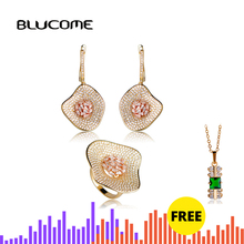Blucome Luxury Two Tone Colors Lotus Leaf Shape Drop Earrings Ring Set Women Bridal Wedding Banquet Dress Zircons Jewelry Sets