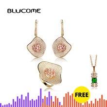 Blucome luxo duas cores tom folha de lótus forma brincos conjunto anel feminino nupcial casamento banquete vestido zircões conjuntos jóias