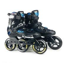 A velocidade do lobo da guerra patins inline semi solft alta tornozelo roller shoe inline patine 3*110mm chassi para a rua que compete a patinação livre sh59