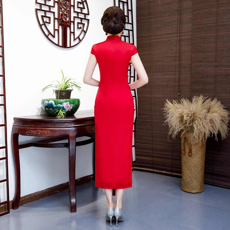 Модное Длинное Платье Чонсам с вышивкой в китайском стиле, платье с воротником «Мандарин», женское летнее узкое платье Ципао из вискозы, Платья для вечеринок, Vestido S-5XL