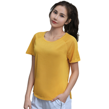 Women's Sports Yoga Shirts High Quality Polyester Solid Running Short Sleeve T-Shirt Breathable Tops Quick Dry Training Clothes