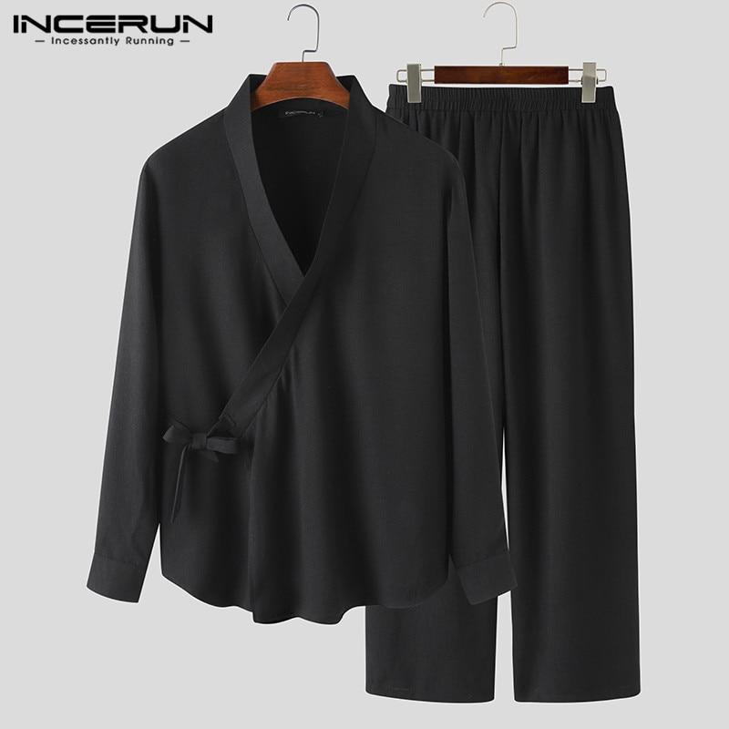 INCERUN Chinese Style Solid Sets Mens Long Sleeve Kimono Tops Baggy Pants Suits Vintage Breathable Sets Men Retro Suit Plus Size