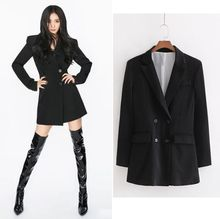 HCBLESS 2019 autumn womens double-breasted long black small suit jacket