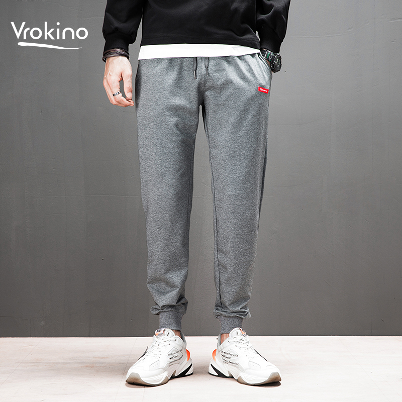VROKINO 2020 Spring  Men's Jogging Casual Pants Youth Cottonsoft Sweatpants Black Grey  M-4XL