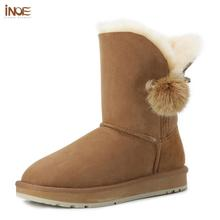 Boots Shoes Sheepskin Rhinestone Crystal INOE Suede Women Winter Fur Brooch Lined Fox-Fur-Ball
