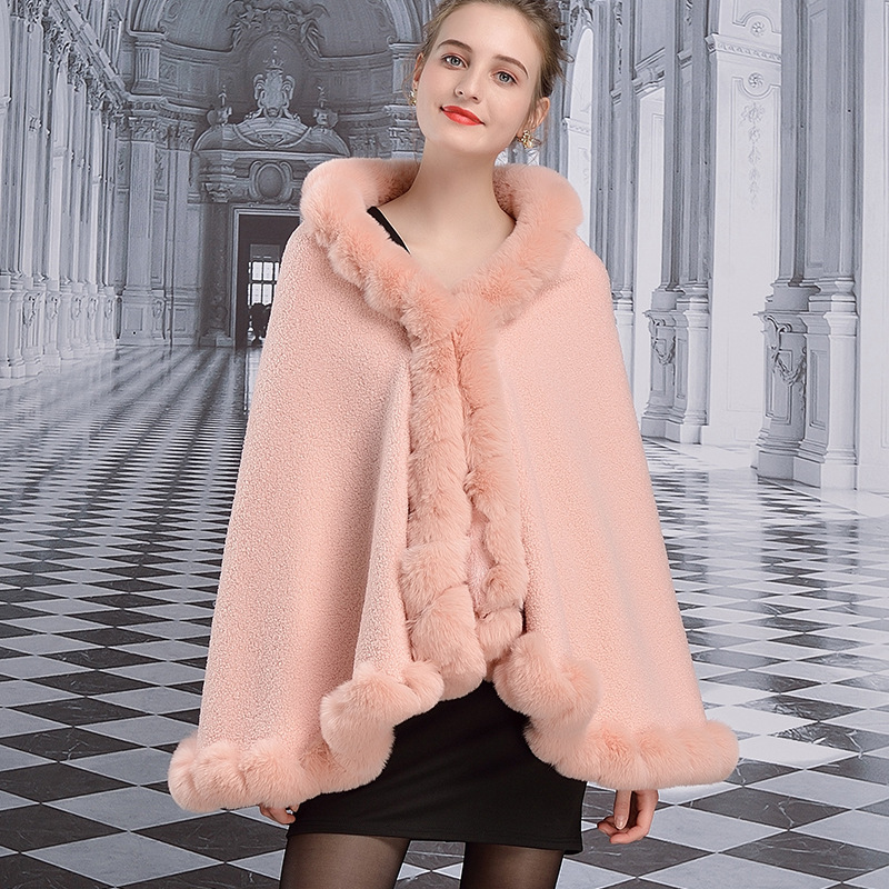 1805 European and American  Autumn and Winter Clothing Faux Rex Rabbit Fur Collar Cloak Winter Shawl