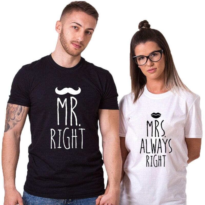 EnjoytheSpirit Wedding Gifts T Shirt Mr Mrs Always Right Funny Printing Unisex Cotton O Neck Top Tee Summer Fashion Casual Styl