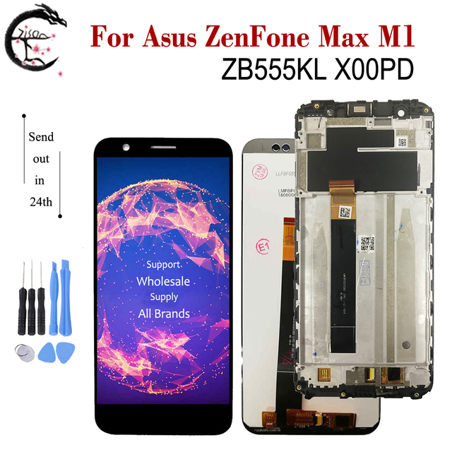 """5.5"""" LCD With Frame For Asus ZenFone Max M1 LCD ZB555KL X00PD Display Screen Touch Sensor Digitizer Assembly ZB555 KL Display"""