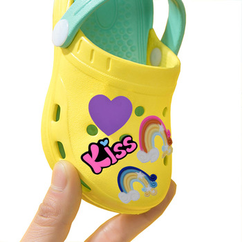 5pc Sweet Baby Shoe Charms Cartoon Heart Rainbow Letter PVC Shoe Accessories Decoration Kids Favor K