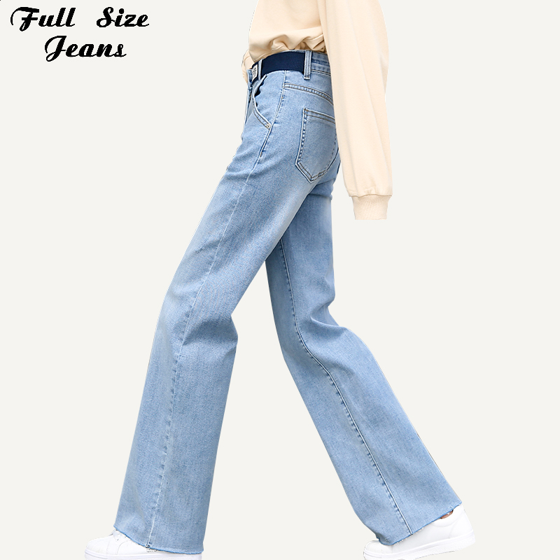 Plus Size Design Belt Boyfriend Wide Leg Extra Long Jeans For Tall Girl 5Xl 7Xl High Waist Denim Loose Bell Bottoms Trousers