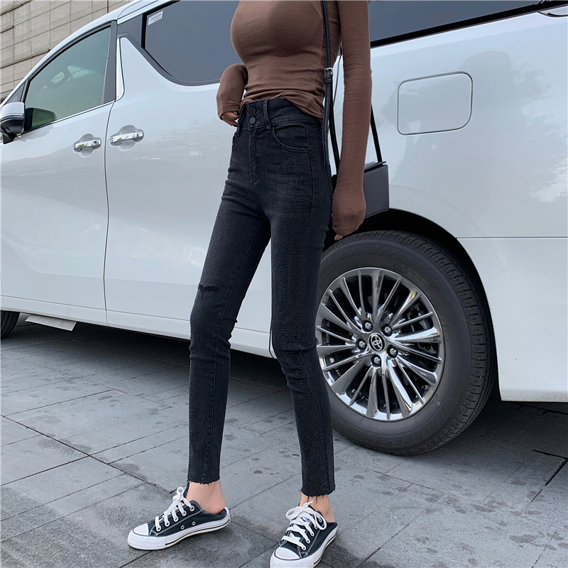 Jeans female 2019 new casual slim high waist slimming high wild tight-fitting feet nine pants image