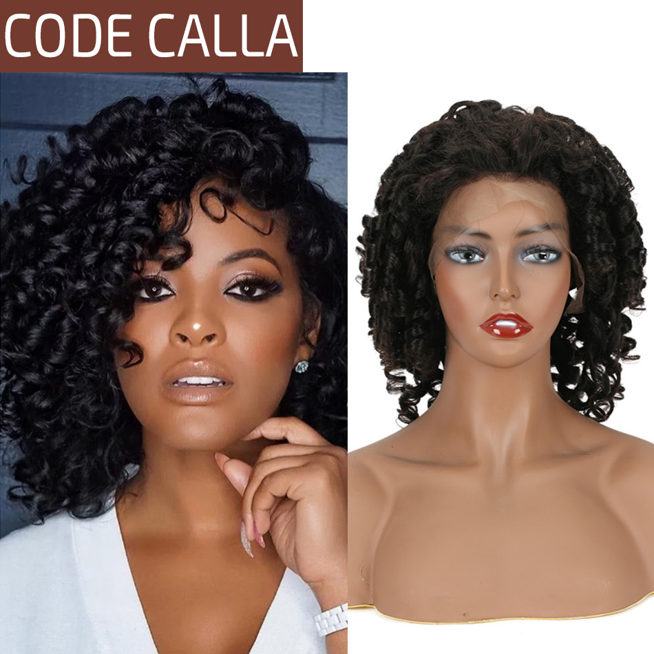Curly Lace Front Human Hair Wigs For Women Code Calla Brazilian Bouncy Curly Wig 4*4/13*4 Lace Frontal Wig Pre-Plucked Hairline