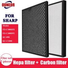 Para sharp FZ-C100HFE FZ-C100DFE substituição purificador de ar hepa & filtro de desodorização para KC-850, KC-C100E