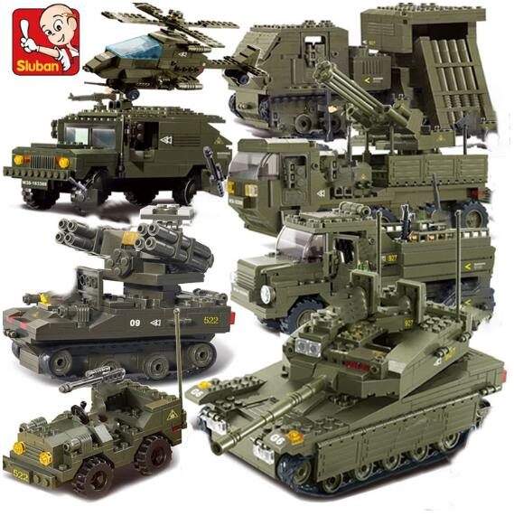 Sluban Compatible Legoed Military Tank World War 2 Army Figures Series Set Troops Building Blocks Bricks Helicopter Model Toys