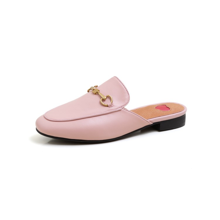 Luxury Designer Slippers Brand Slippers Women Genuine Leather Flat Mules Metal Chain Casual Shoes Outdoor Slippers