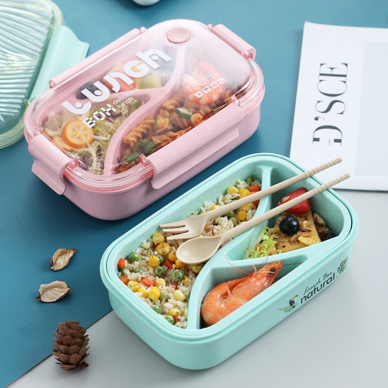 TUUTH Microwave Lunch Box Wheat Straw Bento Box 750ML BPA Free Food Storage Container With Soup Cup