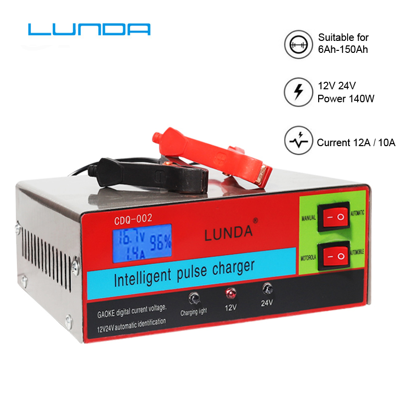 10 Amp 12V 24V Smart car Battery Charger Maintainer for Automotive, Motorcycle, Lawn Mower, Boat, RV, SUV, ATV and More