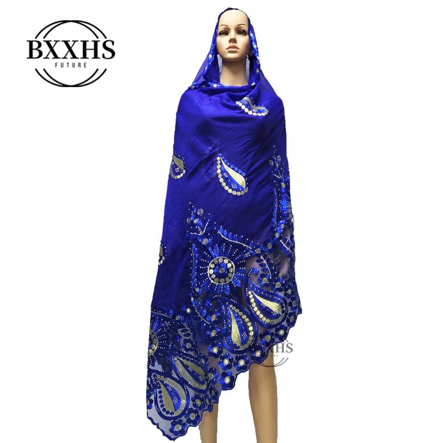 New African Women Big Embroidery Scarfs Soft Cotton Rayon Luxury Scarf Big Size Cotton Scarf For Shawls Wraps