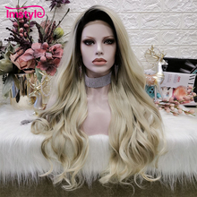 Imstyle Blonde Wig Long Wavy Synthetic Lace Front Wig For Women Dark Root Heat Resistant Fiber Daily Cosplay Wig should length dark root ash blonde lace front wig synthetic