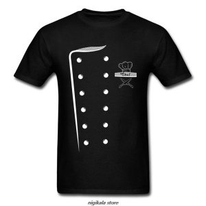 Chef Costume Design T-shirt Print Men Cooks T Shirt Uniform Tshirt O Neck Cotton Fabric Clothes Funny Tops & Tees Top Quality(China)
