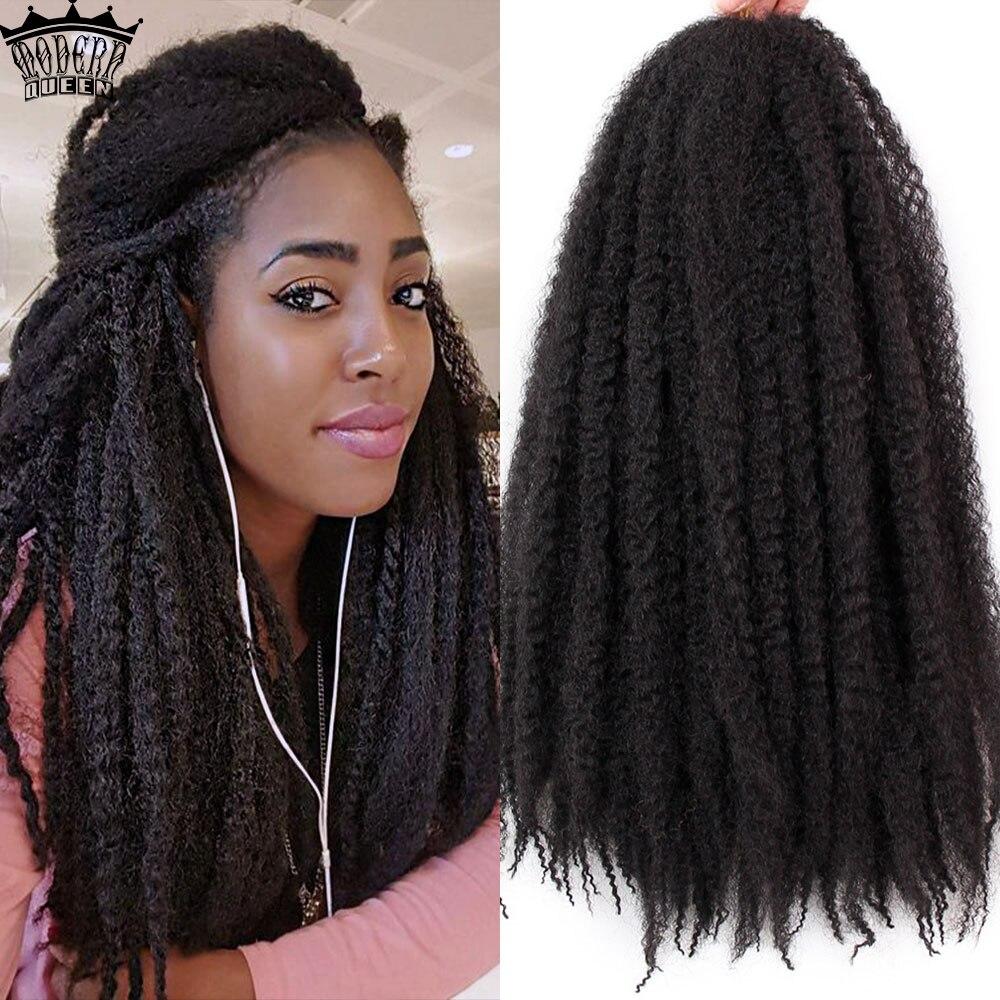 Marley tranças de cabelo, 18 polegadas cor pura crochê afro cabelo sintético cacheado extensões de cabelo crochê tranças a granel preto marrom