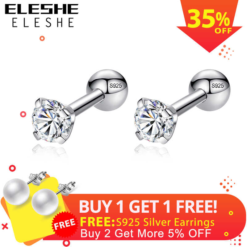 ELESHE CZ AAA Zircon Crystal Round Small Stud Earrings Wedding 925 Sterling Silver Earring for Women Girls Fashion Jewelry Gift