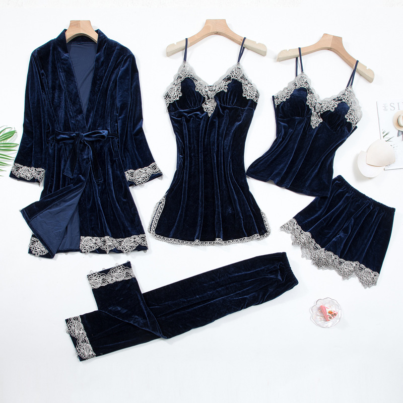 2020 Gold Velvet 4 Pieces and 5 Pieces Warm Winter Pajamas Sets Women Sexy Lace Robe Pajamas Sleepwear Kit Sleeveless Nightwear 19