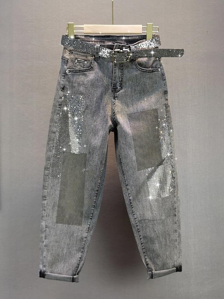 2020 Summer Fall Jeans Woman New European Style Loose Elastic High Waist Hot Drilling Capri Harem Pants Thin Jeans Denim Pants