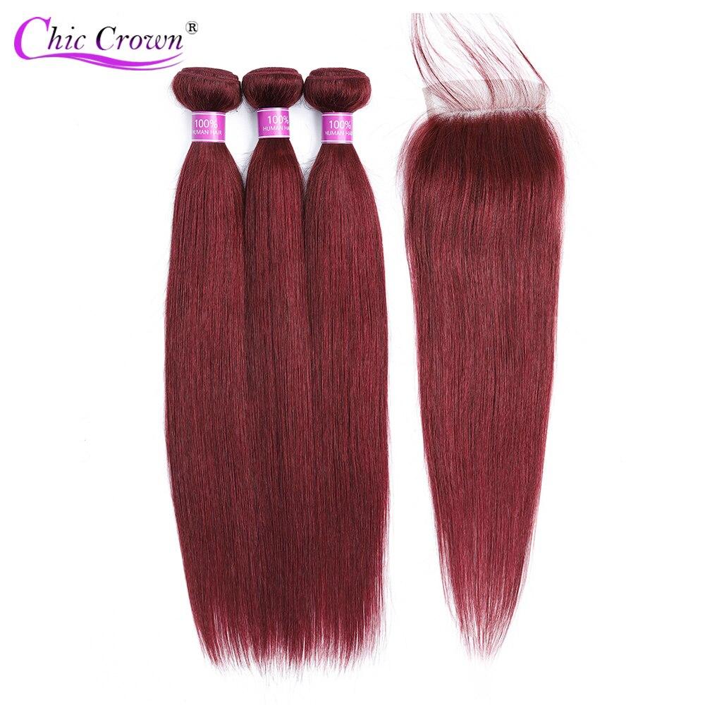 Red Bundles With Closure Brazilian Straight Hair 99J Red Wine Hair Weave 100 Human Hair Burgundy Bundles With Closure