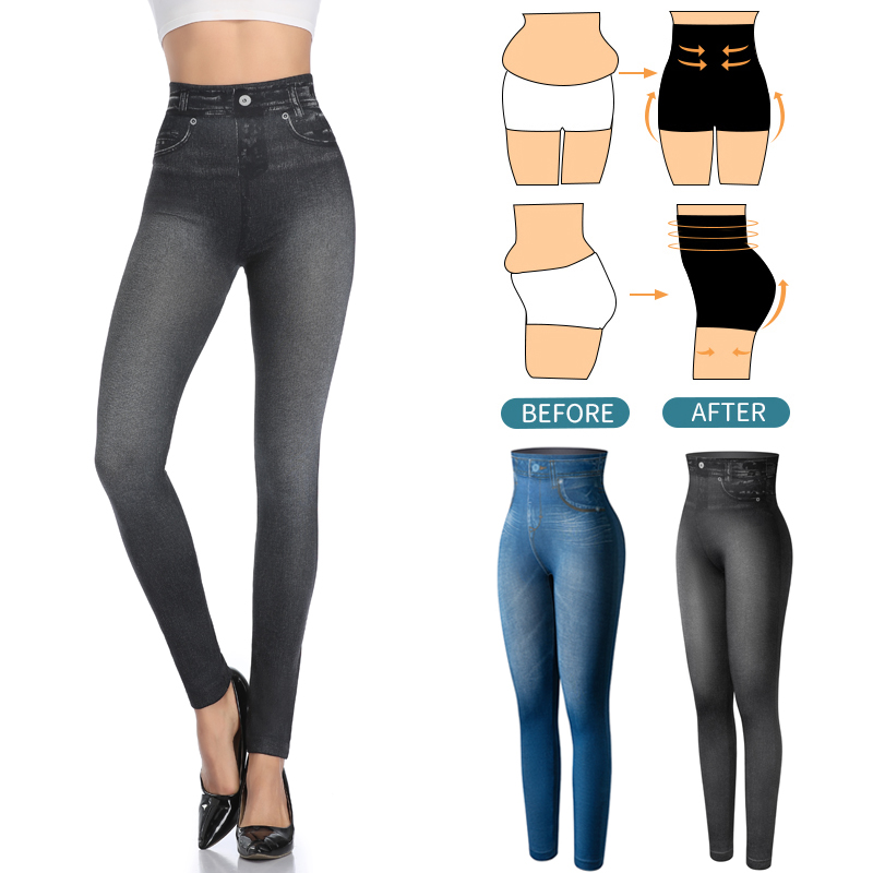 Faux Denim Jeans Leggings Women Seamless Slim Leggings Sexy Fashion High Waist Long Printing Fitness Legging Casual Pencil Pants
