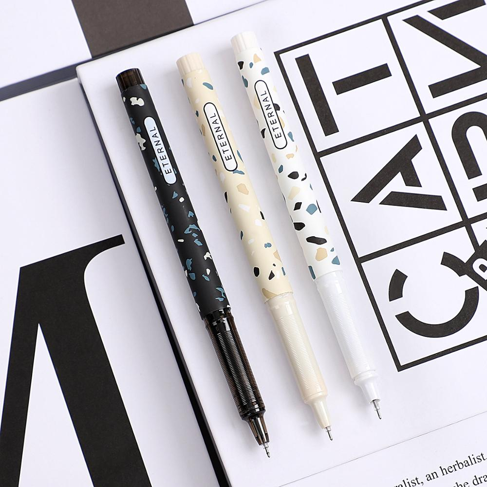 JIANWU 3pcs/set Simple Lovely Large Capacity Gel Pen Quick-drying Neutral Pen For Student Black Ink Pen Kawaii School Supplies