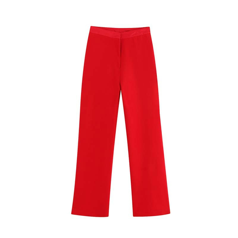 Women Red High Waist Ankle-Length   Pants   Elegant Loose Zipper   Wide     Leg     Pants   Solid Office Casual Trousers