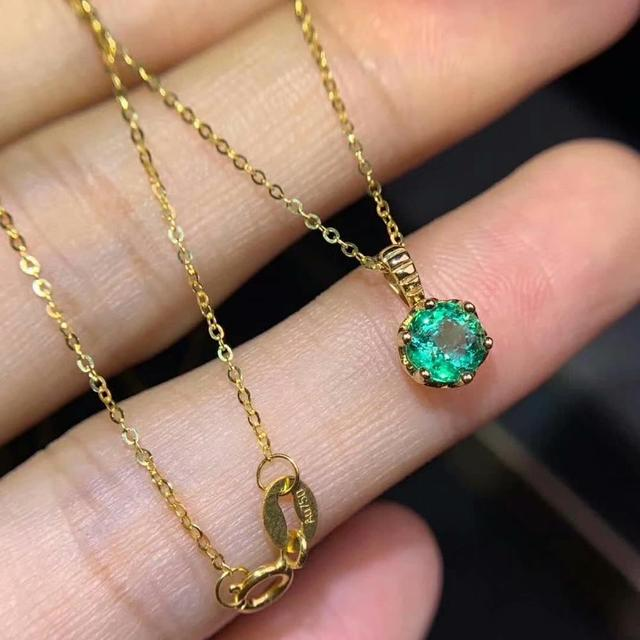 shilovem 18K yellow Gold real Natural emerald pendants fine Jewelry plant gift new plant none necklace 5*5mm  dz0505283ml 2