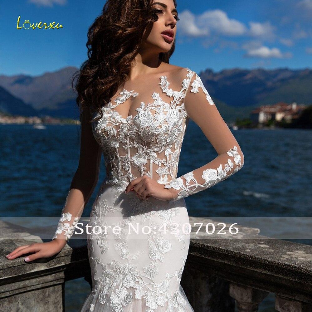 Loverxu Illusion Scoop Mermaid Wedding Dresses 2019 Appliques Long Sleeve Button Bridal Dresses Court Train Bride Gown Plus Size