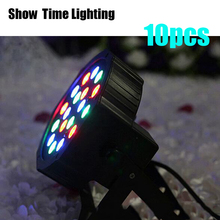 цены Dj Led Disco RGB Light 10pcs/lot 18pcs Plastic Led Par stage light mini par led can for Club Dj show Home party KTV Disco Light