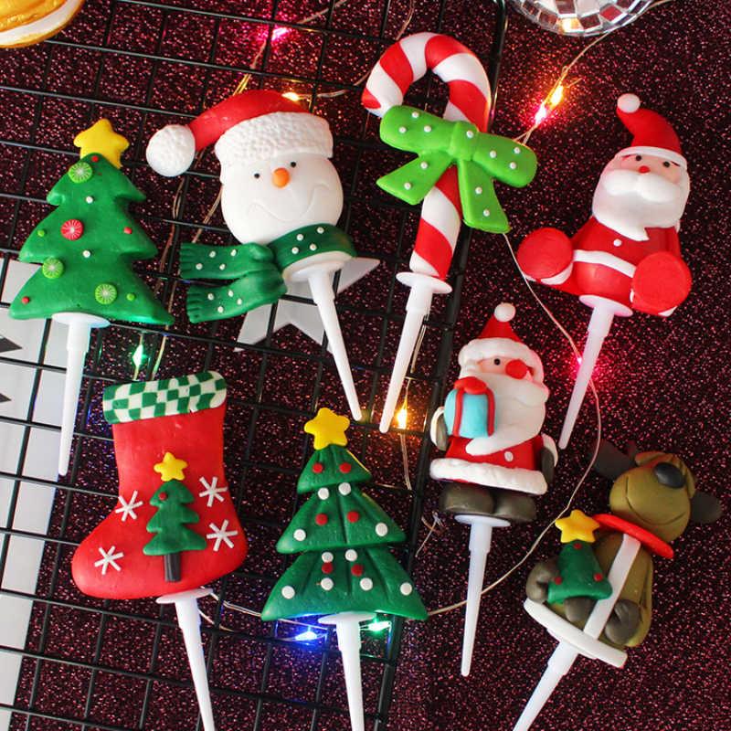Noel serisi kek Topper noel ağacı kardan adam şekli Cupcake Top bayrağı dekorasyon yeni yıl partisi polimer kil el sanatları