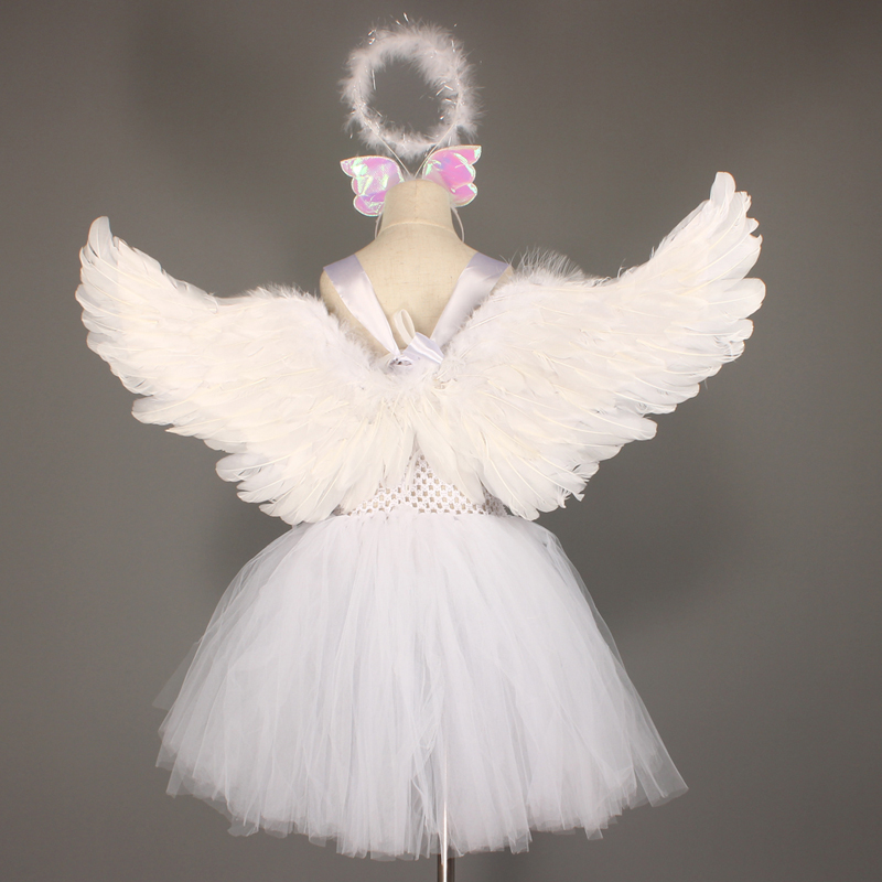 Guardian Angel Kids Halloween Costume White Feather Angel Girls Tutu Dress with Wings & Halo Christmas Nativity Gabriel Clothes (6)
