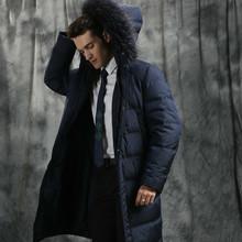 Men #8217 s Winter Down Jacket Long 90 White Goose Down Jacket Men Clothes 2020 Raccoon Fur Collar Down Coats JH1539 KJ3098 cheap REGULAR Casual zipper Full Thick (Winter) Broadcloth Polyester Hat Detachable 200g-250g Solid men coat winter doudoune homme