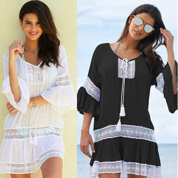 Fashion Bamboo Cotton Summer Pareo Beach Cover Up Sexy Swimwear Women Swimsuit Kaftan Dress Tunic White Beachwear