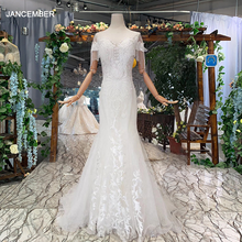 HTL334 Mermaid Wedding Dress with detachable train tassel short sleeve o neck ivory bridal vestidos de novia corte sirena